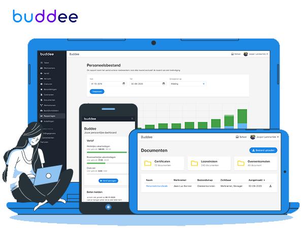Buddee: een slim HRM-platform voor MKB bedrijven. De missie: Bij Buddee willen we het leven en het werk voor iedereen beter, simpeler en leuker maken.  Hoe doen wij dit doen? Buddee creëert een werkomgeving van nu, door alle personeelszaken te bundelen in één digitale omgeving. Zo heb je als ondernemer en medewerker altijd je personeelszaken bij de hand, bespaar je tijd en behoud je je focus.